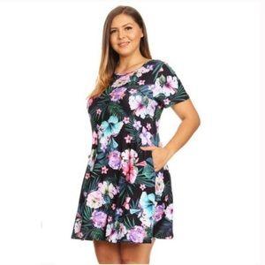SALE!🌺Plus Tropical Print Fit & Flare Dress